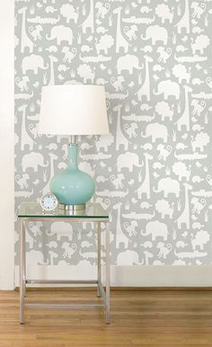 The Gray Its A Jungle In Here peel & stick wallpaper is both happy and chic!
