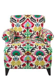 Bring a pop of color to your living room or master suite ensemble with this bold arm chair, showcasing cotton suzani-print upholstery for exotic appeal. Deco Boheme, Inspiration Design, Boho Stil, Take A Seat, My New Room, Wingback Chair, Swivel Chair, My Dream Home, Accent Chairs