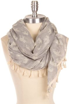 Lucky Elephant Scarf in Gray