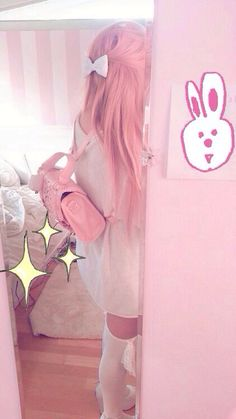 Cute pink bag pack and cute pink hair pastel color