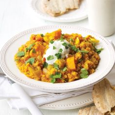 Red lentil dhal with cauliflower and pumpkin | Healthy Food Guide