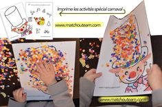 carnaval+les+fiches+à+imprimer. Carnival Activities, Craft Activities For Kids, Kindergarten Activities, Preschool Crafts, Theme Carnaval, Diy For Kids, Crafts For Kids, Party Box, Circus Crafts