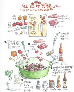 Illustrated Recipe by Rea Lai Recipe Drawing, Family Recipe Book, Illustrated Recipe, Food Doodles, Chocolate Wrapping, Food Sketch, Watercolor Food, Food Painting, Food Journal