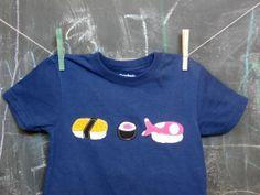 Sushi TShirt Children's Geeky Tshirt Blue Short by JaneandJoshua