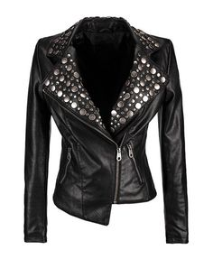Studded Leather Biker Jacket  So effing LOVED BADASS! I want this 4 DMode in LaLALand !!