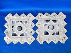 "Norwegian Hardanger Needlework Two White on White 8 1 2"" Squares | eBay"