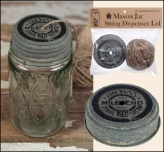 Vintage Reproduction Mason Jar Twine Dispenser Lid  - Jilly Bean Kids www.jillybeankids.com