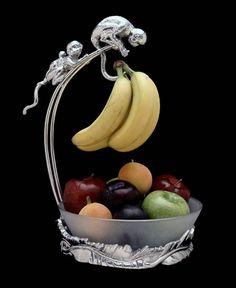 Monkey Kitchen Decor Safari Banana Holder W Bowl By Arthur Court