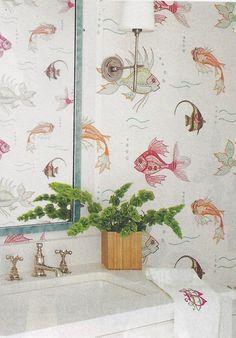 Classically Cool Shore House, via Coastal Living Wayfair. Photo by Annie Schlecter. Bathroom Wallpaper Fish, Fish Wallpaper, Coastal Style, Coastal Living, Coastal Decor, Coastal Wallpaper, Home Wallpaper, Downstairs Bathroom, Kids Bath