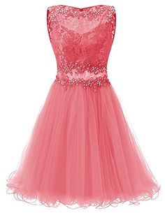 Dresstells® A Line Short Tulle Prom Dress With Lace Homecoming Dress