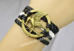 Mockingjay pin braceletblack leather bracelet Hunger by charmcover, $7.99