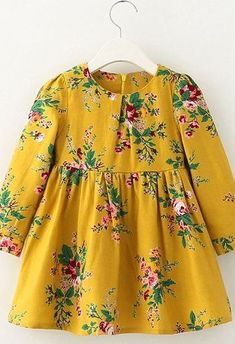 Stylish Long Sleeve Floral Print A-Line Dress For Girl – Rebecca Baer – Join the world of pin Frocks For Girls, Dresses Kids Girl, Kids Outfits, Cute Little Girl Dresses, Baby Girl Dress Patterns, Baby Clothes Patterns, Trendy Baby Girl Clothes, Toddler Dress, Sewing Clothes