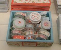 Cath Kidston DISPLAY BOX filled with RIBBONS  -  Dollhouse Miniature 1/12 th Scale. $35.00, via Etsy.