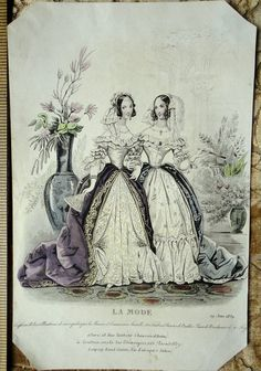 Hand-Colored Victorian Fashion Plate Twin by YeOldeOverstuffedApt