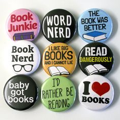Book Nerd Bookworm Badges Buttons Pinbacks by ButtonBrat on Etsy https://www.etsy.com/listing/214627180/book-nerd-bookworm-badges-buttons