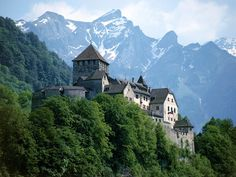 Castle and Swiss Alps, Liechtenstein