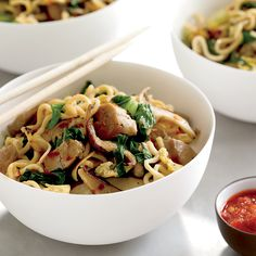 This stir-fry calls for succulent pork tenderloin, shiitake, bok choy and chewy noodles-either Japanese curly noodles (available in the interna... Healthy Noodle Recipes, Asian Noodle Recipes, Healthy Asian Recipes, Healthy Meats, Stir Fry Recipes, Pork Recipes, Wine Recipes, Cooking Recipes, Fast Recipes