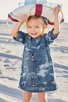 Buy Denim Lighthouse Embroidered Denim Dress from the Next UK online shop Girl Fashion Style, Fashion Shoot, Kids Fashion, Cool Baby, Red White Blue, Navy And White, Embroidered Denim Dress, Estilo Jeans, Nautical Fashion