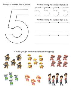 Paw Patrol Number Worksheet 5 Numbers Preschool, Free Preschool, Preschool Printables, Preschool Worksheets, Preschool Learning, Teaching, Summer Worksheets, Pre K Worksheets, Kindergarten Addition Worksheets