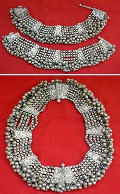 India-Pair of vintage silver anklet bracelets worn by the gypsy tribal women of Rajasthan -These two anklets can early be joined together to make a necklace..... Original Transformers!!