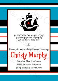 Preppy Pirate!  Great baby shower idea #baby shower