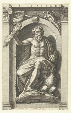 Hendrick Goltzius | Jupiter, Hendrick Goltzius, 1592 | Jupiter, gezeten in een nis, een bliksemschicht in zijn rechterhand, een adelaar bij zijn linkervoet. Deze prent is onderdeel van een serie van acht prenten van klassieke goden, gebaseerd op schilderingen van Polidoro da Caravaggio op de façade van een Romeins huis, door Goltzius in Rome gezien en nagetekend.