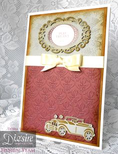 Debra Shaw - Downton Abbey Collection - Thistle Embossing Folder, Fleur de lis Embossing Folder, Motor Vehicle Die Ornate Mirror Die - Sentiment CD1 - Collall All Purpose & 3D Glue Gel - Distress Ink Gathered Twigs - #crafterscompanion #DowntonAbbey
