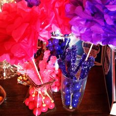 Bubblegum, rock candy center pieces with Kat's adorable pom poms for Stan and Wes' circus-themed shower!  It was a delicious array and pretty too!