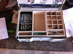 uses for systainers Festool Systainer, Festool Tools, Dewalt Storage, Van Storage, Tool Storage, Paulk Workbench, Van Racking, Truck Tool Box, Tool Board
