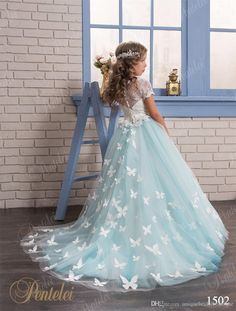 Butterfly Flower Girls Dresses 2016 Pentelei Ball Gown Appliques Tulle Light Ice Blue Kids Evening Gowns Custom Made Latest Dress For Girls Lime Green Flower Girl Dresses From Uniquebridalboutique, $85.43| Dhgate.Com