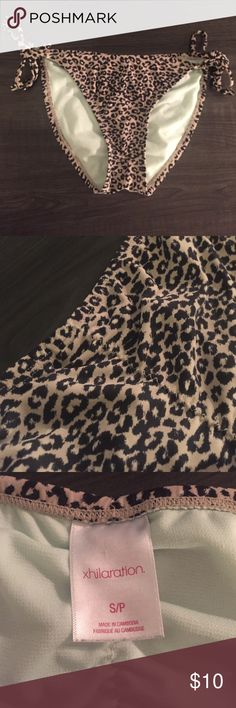 Leopard Print Tie Bikini Bottoms Cream and Black Leopard Print Bikini Bottoms with tie sides and a cinched bottom. Worn once! Xhilaration Swim Bikinis