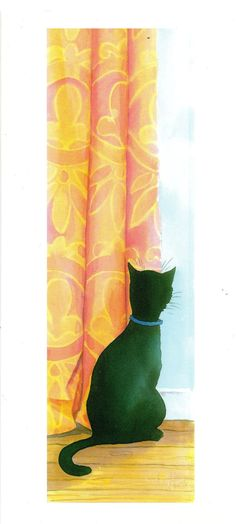 by Fyersart. Black cat at window