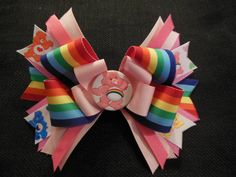 #CareBear #hairbow boutique bow by CatyRoseBows on Etsy, $7.00