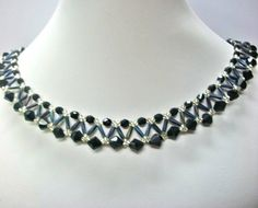 Beadwork Necklace Netted Collar in Black and Silver by ItsAbracadebra