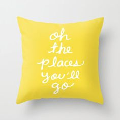 Oh the Places You'll Go Pillow  Yellow Cushion  Yellow | Etsy