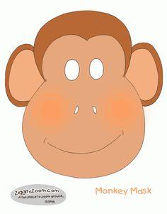 DIY printable Monkey Mask for Monkey Play or Halloween costume idea. #kids   Ziggity Zoom