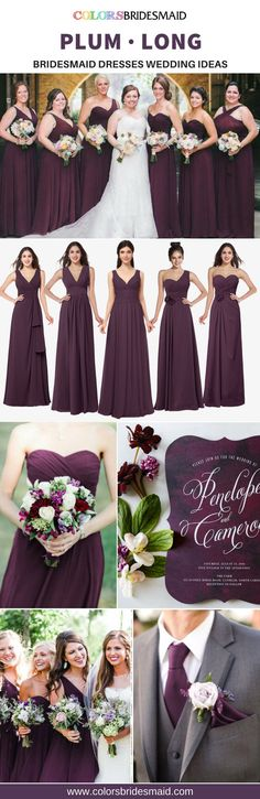 Great 5 plum long bridesmaid dresses for a fall wedding plum Plum Bridesmaid Dresses, Fall Wedding Bridesmaids, Red Bouquet Wedding, Plum Wedding, Fall Wedding Colors, Fall Wedding Dresses, Wedding Dresses Plus Size, Dream Wedding, Moon Wedding