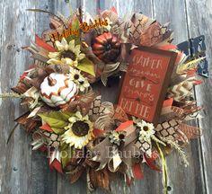 "26"" Fall Wreath www.facebook.com/holidaybaubles2 #fall #wreaths #holidaybaubles"