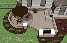 Curvy Patio Design With Grill Station