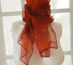 Sheer Chiffon Scarf in Organza /Opalescent  Red Vintage Rockabilly, Pin Up, 50s / 60s Long Scarf by PegsVintageJewellery on Etsy
