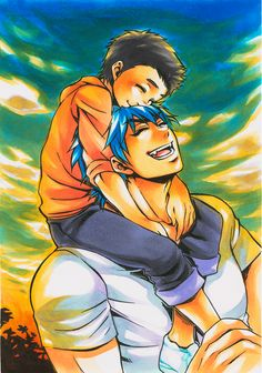 Toriko and Komatsu - Difficult to tell they are both the same age in this picture, or any bloody picture for that matter! It could be worse. Manga Mania, Japanese Love, Couple Romance, Fan Service, Anime Characters, Fictional Characters, Shounen Ai, Studio Ghibli, Vocaloid