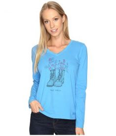 Life is good Happy Trails Boots Engraved Long Sleeve Crusher Vee (Tile Blue) Women's T Shirt