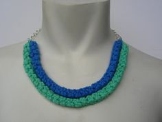 Handmade Tribal Style Crochet Necklace Light Green by SageInspired, $20.00