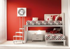 Minimalist Red White Shared Kids Room Design With Unique Stair Bed Loft Bunk Beds, Modern Bunk Beds, Kids Bunk Beds, Bedroom Design Inspiration, Design Ideas, Bunk Bed Designs, Kids Room Design, Bedroom Styles, Kids Bedroom