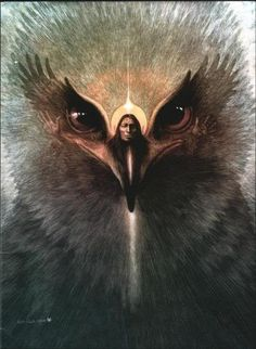 Love the Spirit Essence of the Eagle with the Man <3 Beautiful Native American art via tumblr