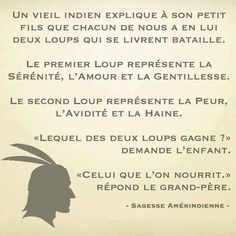 Nourrit le bon loup et ta vie sera belle. Quote Citation, French Quotes, Thing 1, Visual Statements, Morals, Some Words, Positive Attitude, Positive Life, Words Quotes