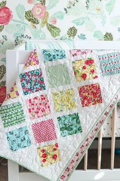 Dainty Darling Fabric Tour: Day 4 with Amy Smart from Diary of a Quilter sharing her free Baby Lattice Quilt Tutorial and Pattern on The Cottage Mama.