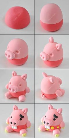 The clay pig production - imp design pig version step Polymer Clay Projects, Polymer Clay Creations, Clay Crafts, Cake Topper Tutorial, Fondant Tutorial, Fondant Toppers, Fondant Cupcakes, Fondant Icing, Fondant Figures