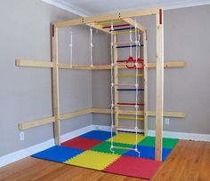 Great for winter in the basement. DIY indoor kids gym (easy and frugal) by polly Kids Indoor Playhouse, Build A Playhouse, Indoor Playground, Natural Playground, Indoor Playroom, Indoor Jungle Gym, Indoor Gym, Kids Gym, Woodworking For Kids