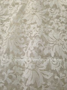 White Embroidered Floral  Floral Lace Fabric for by lacetime, $25.99